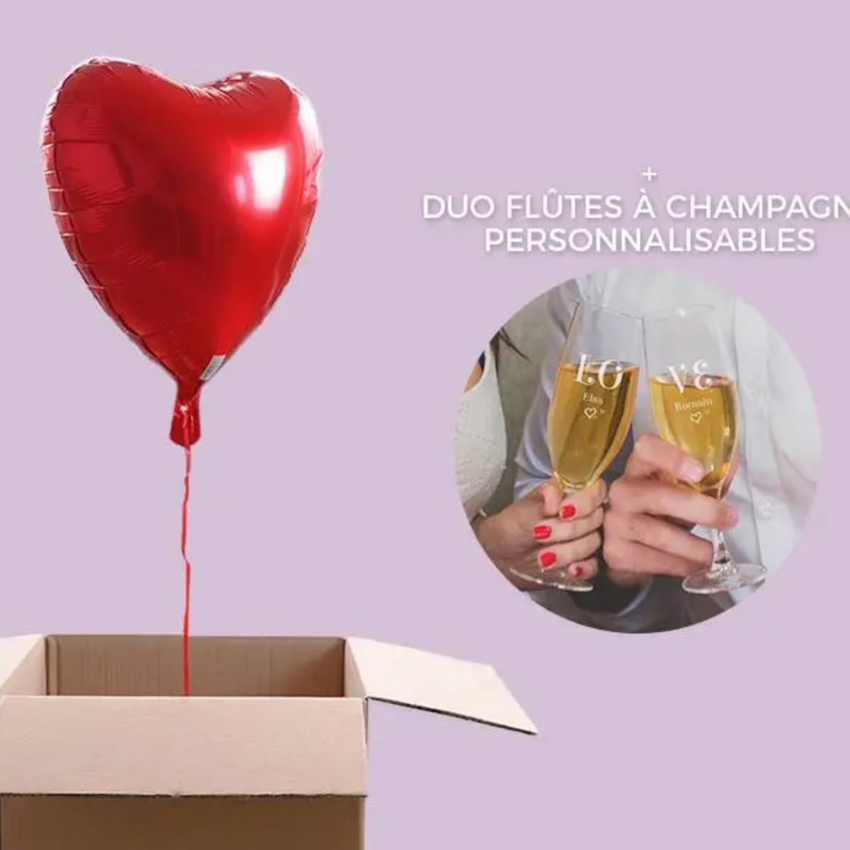 Ballon Coeur Hélium et 2 Flûtes Personnalisés