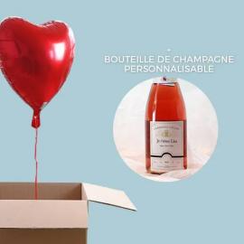 Ballon Coeur Hélium et Champagne Rosé Personnalisable