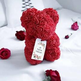 Ours en roses éternelles personnalisable