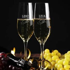 Lot de Flûtes à Champagne Personnalisables - Prénom